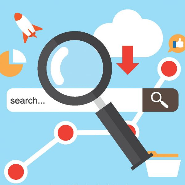 """Grafisch dargestellte Suchleiste einer Suchmaschine. In der Suchleiste steht der Begriff """"search..."""" (Deutsch: Suche). Um die Suchleiste befinden sich folgende Symbole: ein Kreisdiagramm, eine Rakete, eine Wolke mit Pfeil (Symbol für Cloud-Speicher) und ein Daumen-hoch Symbol . Die Symbole stehen bildhaft für die Suche/Recherche. Auf die Suchmaschine ist eine große Lupe gerichtet."""