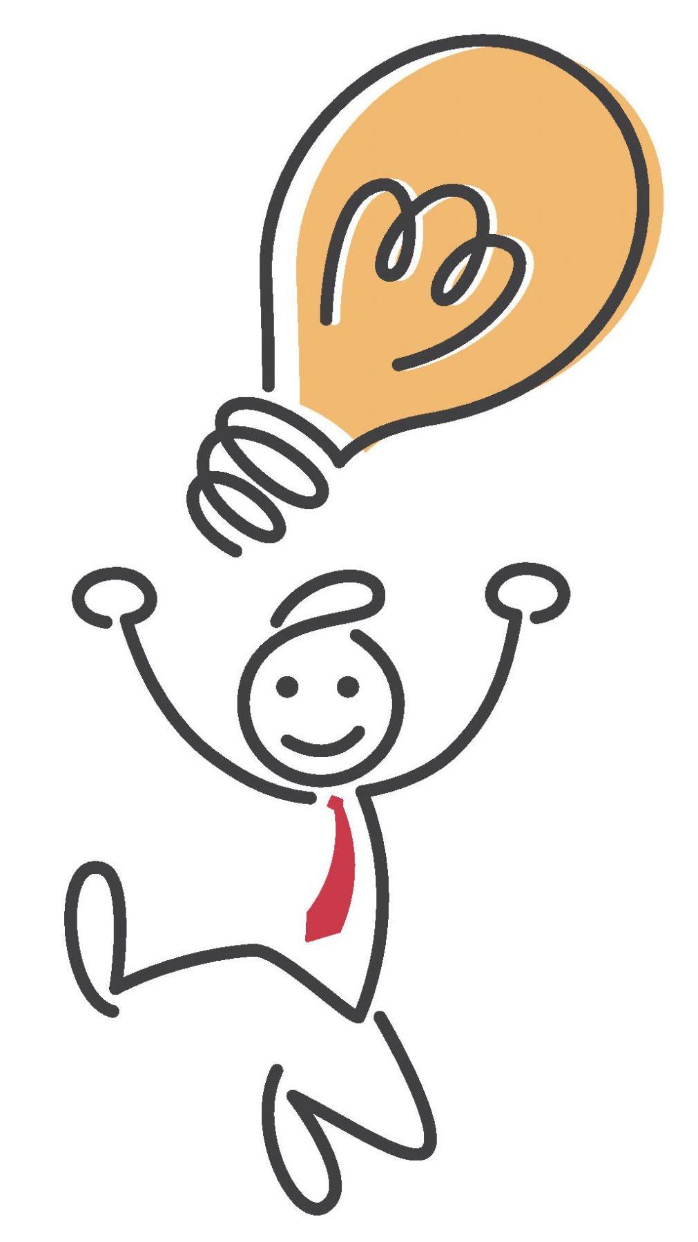 Zeichnung einer Strichmännchenfigur mit hochgezogenen Mundwinkeln und angehobenen Armen. Über der Figur befindet sich eine große orangenfarbige Glühbirne