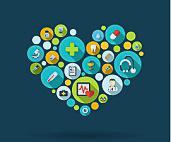 Ein Herz das aus vielen verschiedenen Kreisen in orange, blau und grün seine Form kriegt. In den Kreisen sind gesundheitsspezifische Symbole: unter anderem grünes Kreuz, Stethoskop, Tablette, Zahn.