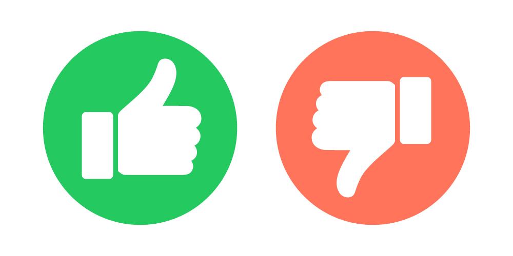 Es sind zwei Daumen abgebildet. Einer zeigt nach oben und wird von einem grünen Kreis umrandet, der andere Daumen zeigt nach unten und wird von einem roten Kreis umrandet.