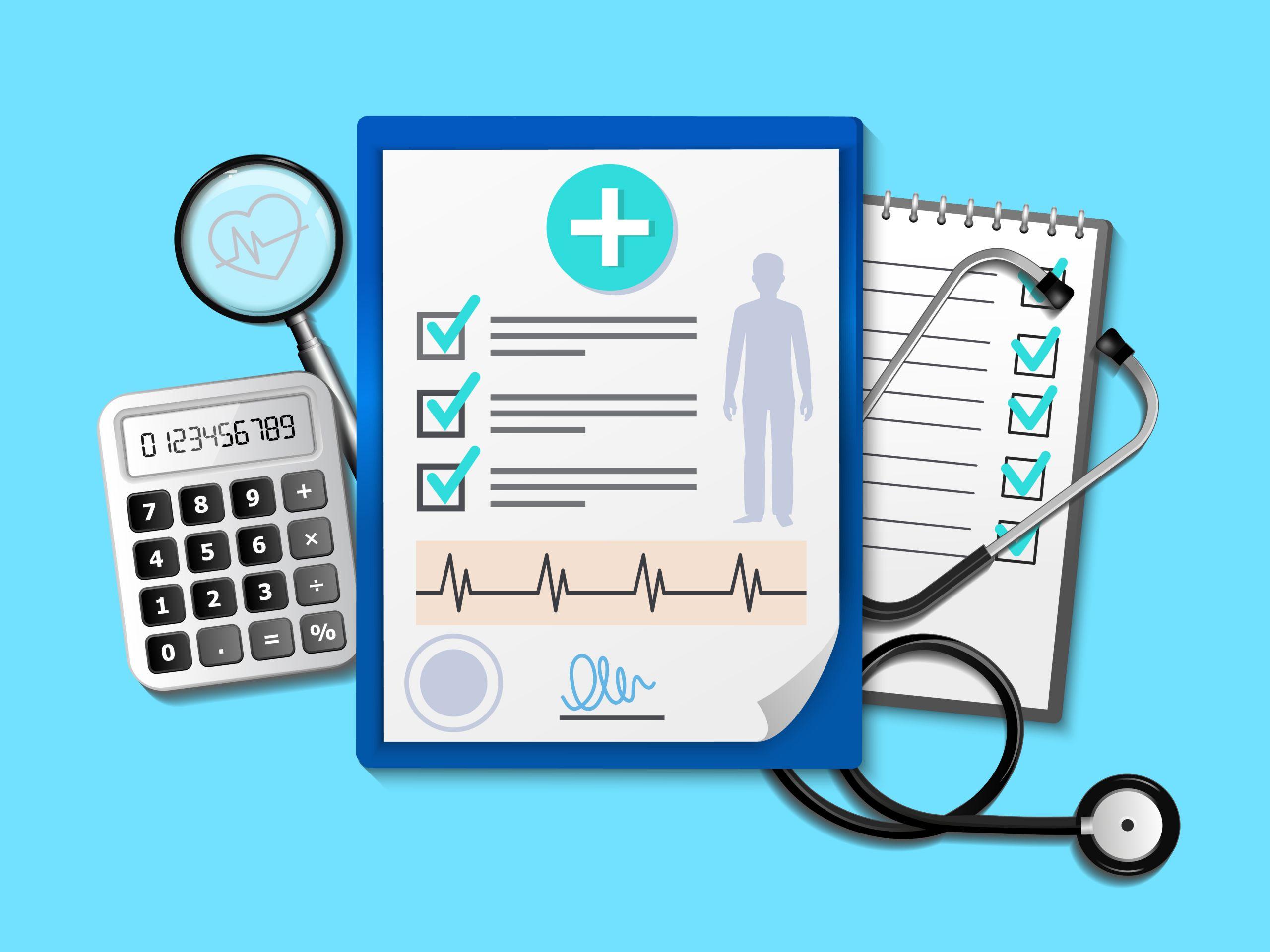 Grafisch dargestellt sind ein Taschenrechner, eine Lupe, ein Stethoskop, eine Checkliste und ein ärztlicher Fragebogen.