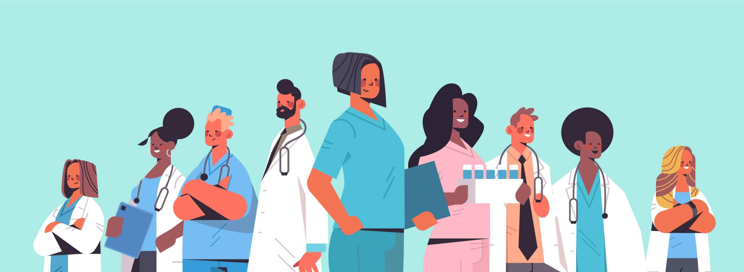 Es sind 9 animierte Ärzt*innen zu sehen, die teilweise Klemmbretter in den Händen halten, Kittel tragen und Stethoskope mit sich führen.
